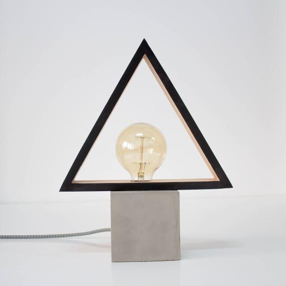 Great Modern Concrete Black Wood Table Lamp , Modern Lamp, Geometric Lamp,  Concrete, Square Lamp, Desk Lamp, Concrete Light, Table Lamp CC