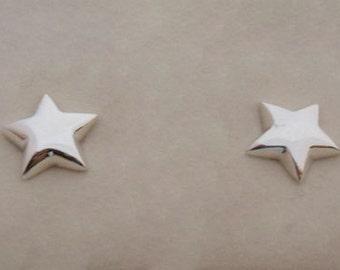 925 Sterling Silver Star Stud Earrings, 10 mm Diameter