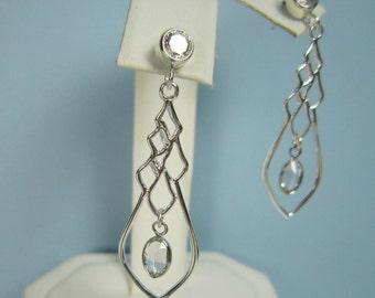 Sterling Silver Chandelier Earrings, Swarovski Crystal, Bezel Set CZ, Modern, Contemporary, Wedding Jewelry, Bridal Earrings, Dangle
