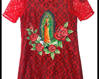 Girls Rockabilly Dress in Red Lace & Day of the Dead Mother Mary .... Size 6 girls