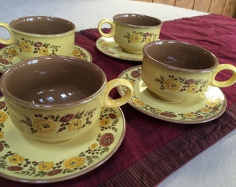 Vintage Taylorton  Indian Summer Stoneware, Set of 4 Cups and Saucers, Ironstone, Mid Century, Bronze Gold Brown, Retro 1970's Dinnerware