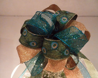 Gold glitter, mesh teal and Teal/green Peacock  Ribbons Christmas Tree topper bow 8ft. tails