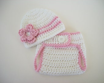 Newborn Baby Girl Photo Outfit, Crochet Baby Girl Outfit, Newborn Girl Coming Home Outfit, Baby Girl Photo Prop, Baby Hats for Girls