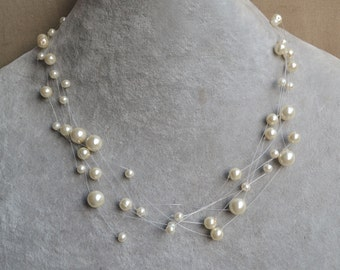 Floating pearl necklace, Multiple strand, Bridesmaid necklace, Ivory Pearl Necklace, 5 Strands Glass Pearl Necklace, Bride Necklace Jewelry