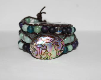 Abalone Shell and Sea Glass Women's Wraparound Bracelet