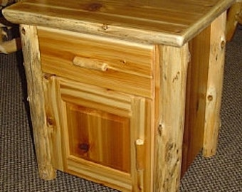 WHITE CEDAR Log End TABLE