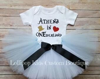 Alice in ONEderland, First Birthday, outfit, tutu, onesie *vinyl*