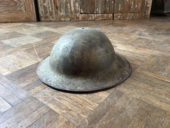 Antique WWI Military Helmet, World War One Steel British Brodie Doughboy Helmet, Military Collectible