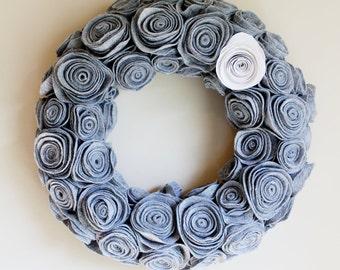 Handmade Grey Felt Rosette Wreath. Winter Wreath. Door Decor. Door Hanger. Wall Hanging. Felt Wreath. Flower Wreath. Custom Gift.Fall Wreath