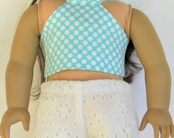 Aqua polka dot halter and white lace shorts, 18 inch doll clothes,   fits dolls like American Girl