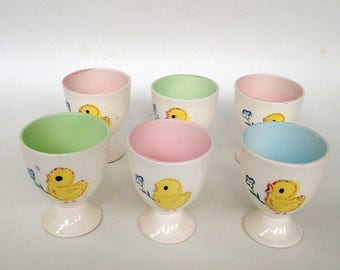 Vintage 1950s Porcelain Egg Cups with Chick Chicken Design Set of 6 Made in Japan