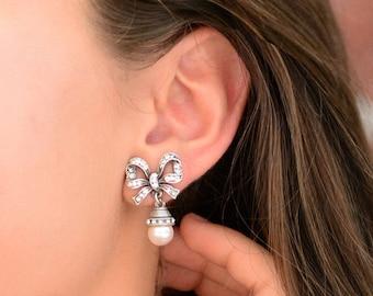 Bow Earrings, Pearl Bow, Silver Bow Earrings, Ribbon Earrings, Bow Jewelry, Pearl Earrings, Wedding Earrings, Bridal Earrings E1265