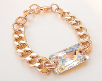 Rose Gold Bracelet chunky chain swarovski crystal statement bracelet MATERIAL GIRL