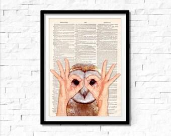 Owl Art Print , Owl wall art, vintage dictionary page book art print.
