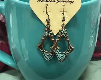 Bronze turquoise dangle earrings