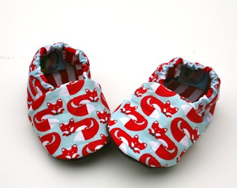 Foxy Feet Organic Baby Shoes 6 - 12 months Handmade Soft Sole Shoes Boy or Girl Unisex Red Fox Organic Cotton Booties- Baby Clothes