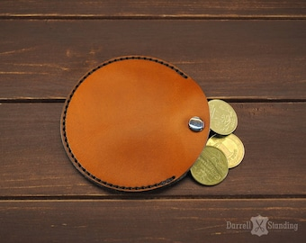 Leather coin purse Orange coin pouch Coin wallet SW0071r