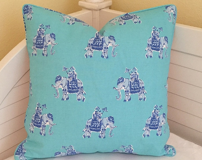 Lilly Pulitzer Bazaar in Shorely Blue Elephants Designer Pillow Cover with Piping, Square, Euro and Lumbar Pillow Sizes, Designer Fabric