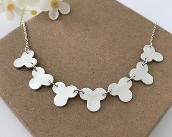 SOLA- flower statement necklace, bib necklace, sterling silver with 960 sterling clay