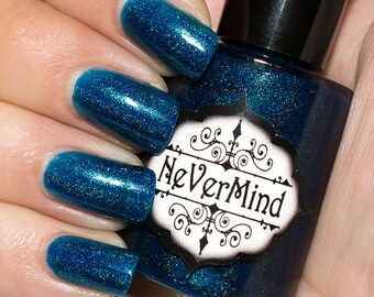 Pluviophilia - Dark Blue Holographic Nail Polish - Navy Holo Nail Lacquer - Gifts for Her - Bridesmaid Gifts