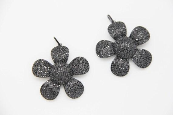 Black CZ Micro Pave 50mm Flower Pendant With CZ Bail