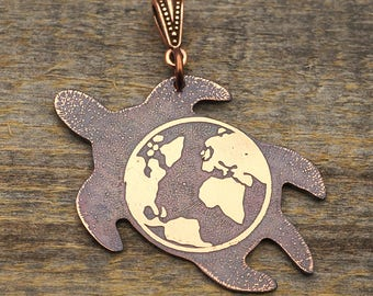 Copper world turtle pendant, earth on the back of a tortoise, mythic jewelry 47mm