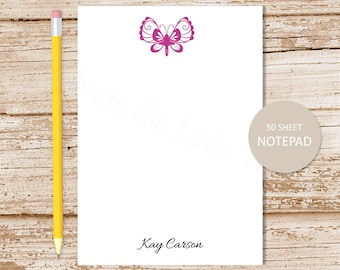 personalized butterfly notepad . butterfly note pad . personalized stationery . custom stationary