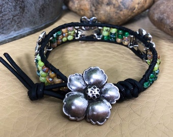 Green and Silver Flower Accented Beaded Leather Wrap Bracelet