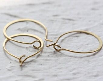 20 Pieces Raw Brass Hammered Earring Finding - Earring Hook - Earring Hoop 24x16.4mm (3911C-D-490)