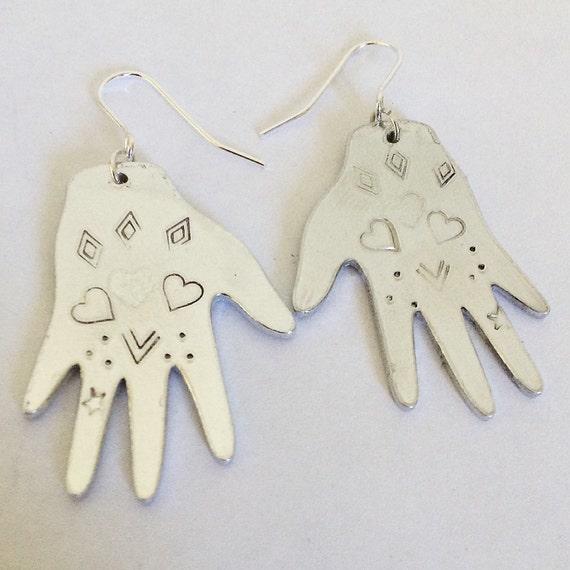 Mexican Artist Inspired Hand Earrings Heart Design - Tattoo - Love - Gypsy - Festival - Folk Art - Boho - Art - Statement - Drop - Silver