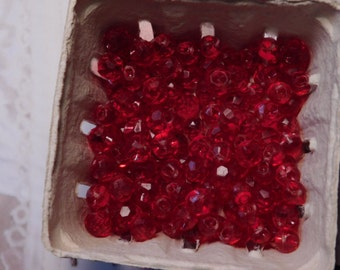 SALE - Vintage Red Lucite Beads - 50 of Them