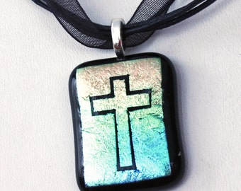 Cross Necklace, Dichroic Glass Pendant, Fused Glass Jewelry, Religious Gift, Christian Cross, Handmade in USA