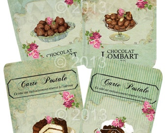 Instant Download  - OO La La Chocolate -   Printable Digital Collage Sheet  - Romantic Downloads Hang Tags Scrapbooking