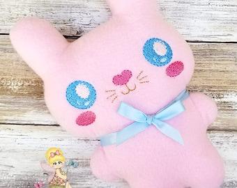 Blue Eyes Pink Baby Bunny Plushie