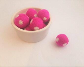 Handmade felt wool balls needle felted pom pom spotty ball 25mm polka dots handmade bead arts and crafts 100% wool pink felt balls