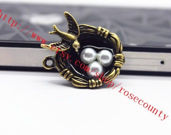 wholesale 20pcs 25x20mm antiqued bronze nest of birds charms findings
