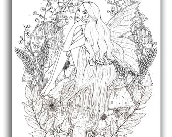 Fairy in Flowers A5 Illustration Print