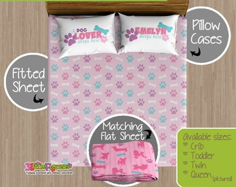 Dogs Custom Fitted and Flat Sheets - Kids Bed Sheets - Customized Children Bedding - Kids Pillowcase - Puppies Bedroom Decor - Pink & Dogs