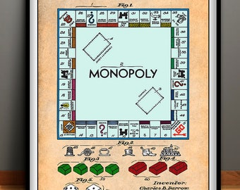MONOPOLY Patent, Color Patent, Colorized, Monopoly Poster, Monopoly Patent, Monopoly Print, Monopoly Art, Monopoly Wall Art, Board Game