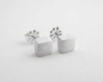 Square Stud Earrings, Mens Earrings, Studs, Sterling Silver Studs, Mens Jewelry, Everyday Studs, Square Studs