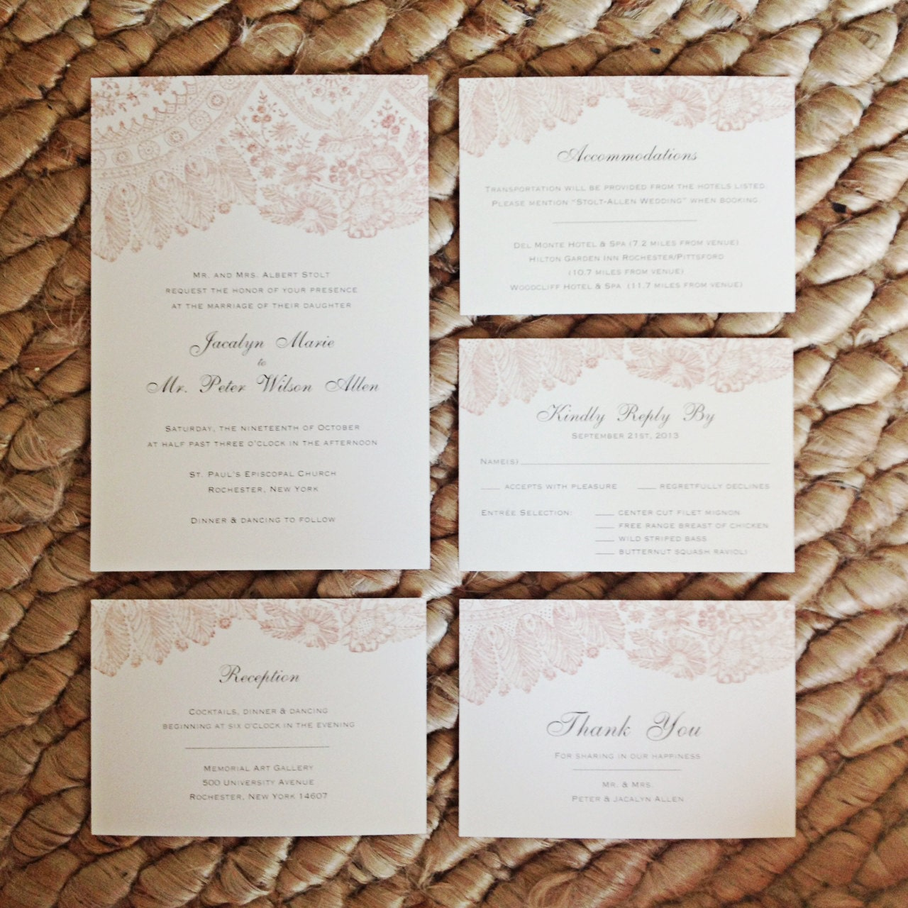 Blush Lace Wedding Invitation Suite Simple Rustic and