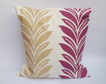 Cream, Beige & Plum Purple Envelope Cushion Cover Handmade Pretty Leaf Design
