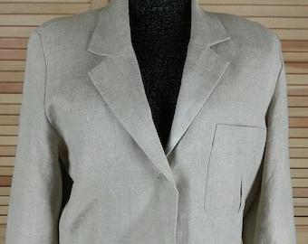 Vintage 80s linen blazer in beige Nancy Heller Saks 5th Ave. size 12 chest 44