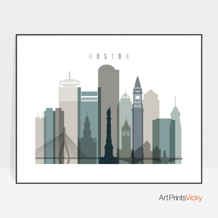 Boston Skyline, Boston Print, Boston Poster, Massachusetts, Boston Art, Boston  Wall Art, Wall Decor, Travel Gift, Home Decor, ArtPrintsVicky
