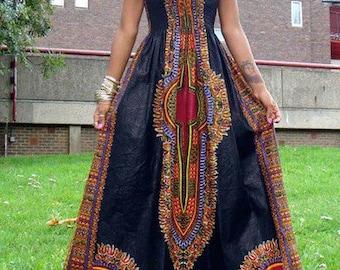 Black Tribal African Print Dress
