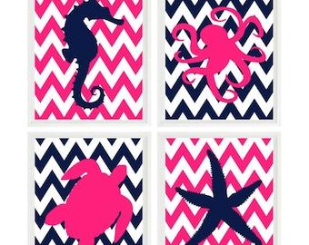 Sea Creature Wall Art, Beach Nursery Art, Girl Room, Starfish, Sea Turtle, Octopus, Seahorse, Hot Pink, Navy Blue, Chevron, Beach House Art