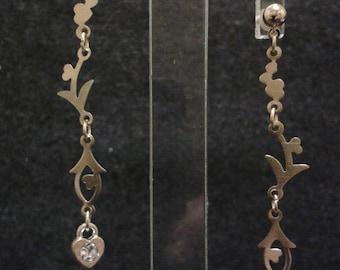 Heart Earrings brass - chip earrings 14 k gold - 6cm
