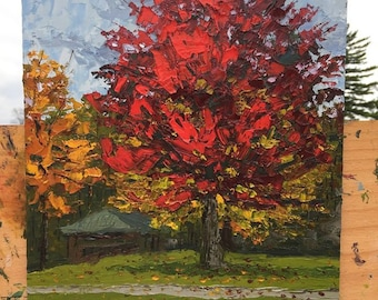 Red Autumn Tree, Oil Knife Painting