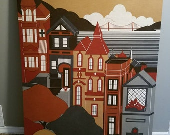 Shelley Winsor Brandon House 1977 San Francisco Skyline Fabric Art Wall Hanging