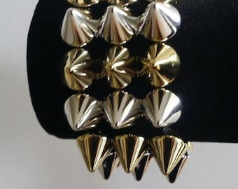 Spiked Cuff Bracelet , Acrylic Spikes, Cuff, Women's Jewelry, Trendy Jewelry, Silver and Gold Bracelet, Bracelets, Gifts for Her